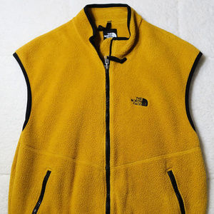 Vintage North Face Yellow Fleece Vest Medium Men's